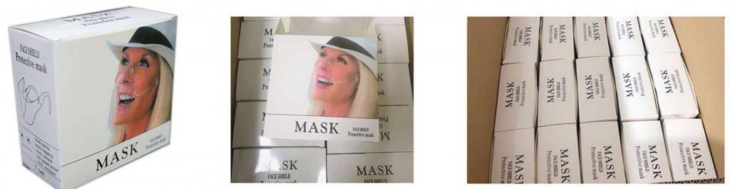 Anti Fog Durable Transparent Face Masks Packaging